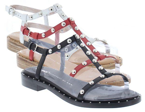 Bronx Sandalen T-Steg Thrill 84727-A Leder Nieten Sandaletten