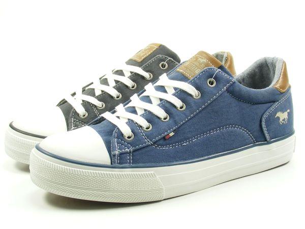 Mustang 1272-301 Damen Schuhe Sneaker Schnürer  blau schwarz