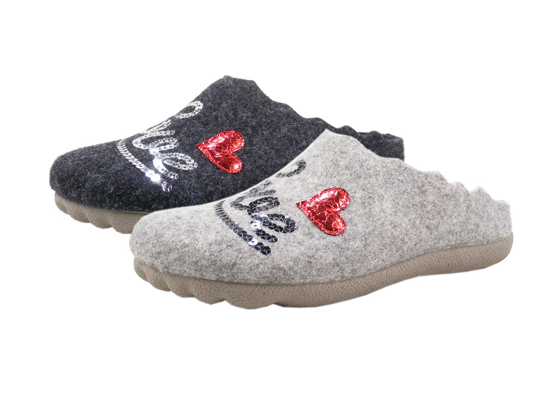 new concept 15c82 173dd Manitu 320569 Schuhe Damen Hausschuhe Filz Pantoffeln