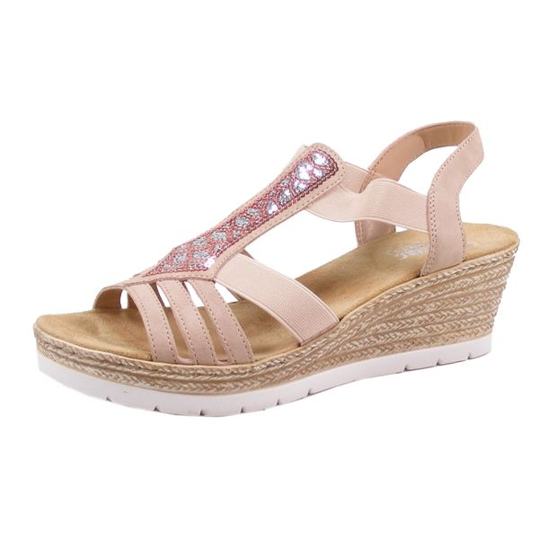 Rieker 61913-31 Schuhe Damen Sandaletten Keil Sandalen