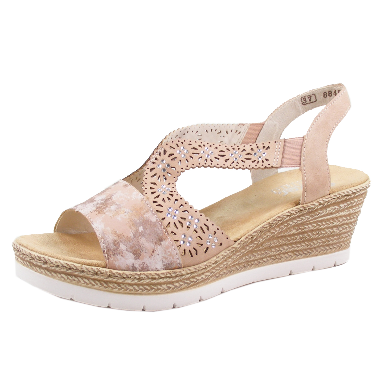 Rieker 61916 31 Schuhe Damen Keil Sandalen Sandaletten BvrDF