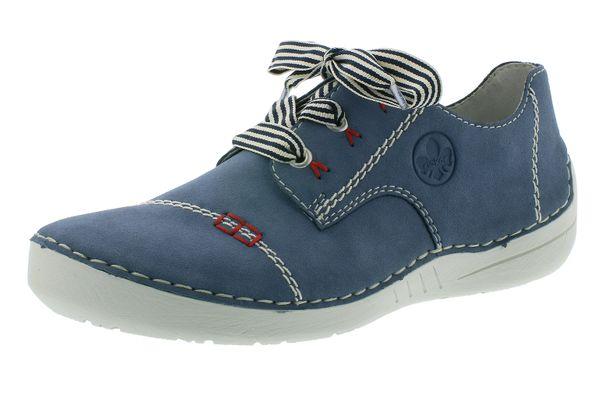 Rieker N9820 14 Damen Schuhe Halbschuhe Schnürschuhe Sneaker blau