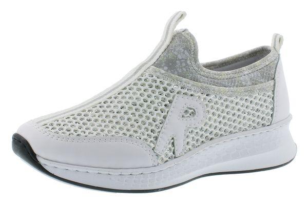 Rieker N5654-81 Damen Slipper Halbschuhe weiß