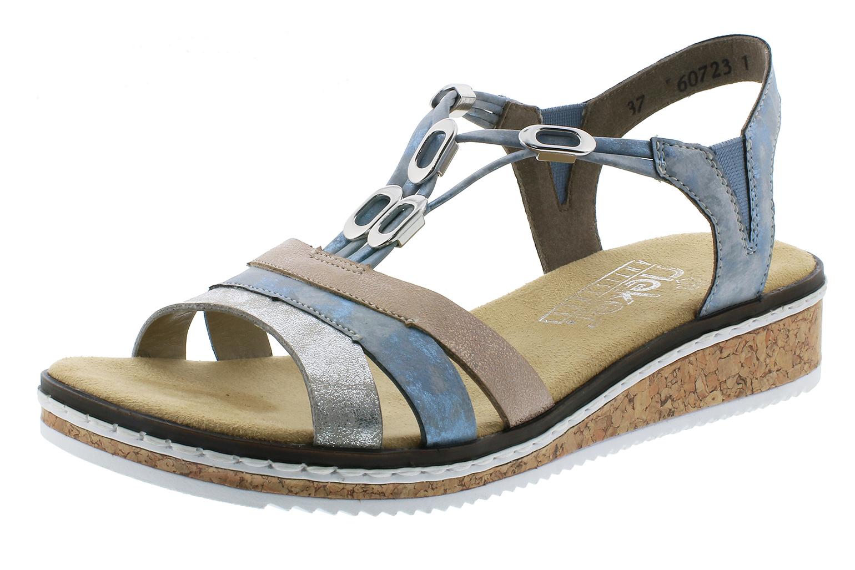 Rieker V36G4 40 Damen Sandalen Sandaletten Keilabsatz Metallic