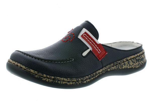 Rieker 46393-15 Damen Schuhe Pantoletten Clogs blau