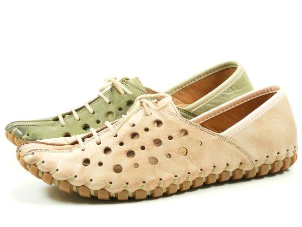 Gemini 031210-02 Schuhe Damen Halbschuhe Ballerinas Schnürschuhe Leder